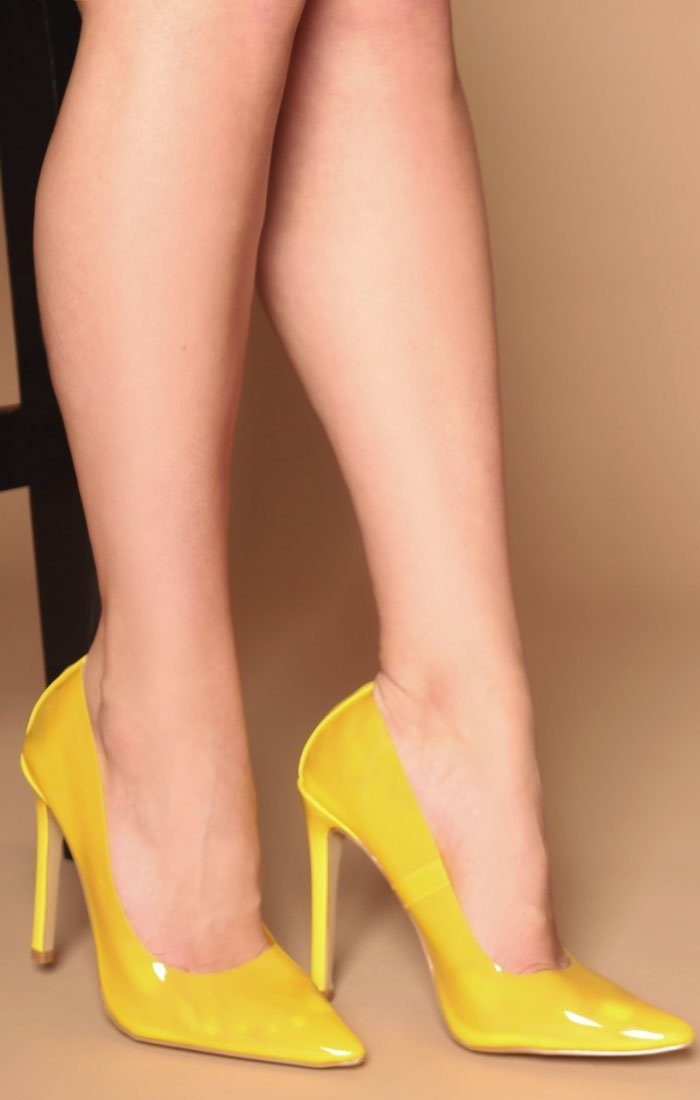 Yellow Perspex Stiletto Heel - Alexis