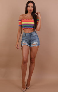 Rainbow Ruched Bardot Crop Top - Melody