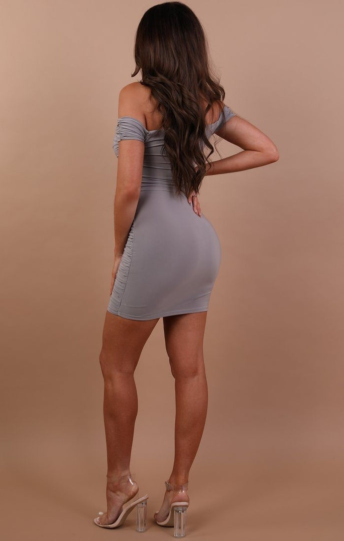 Grey-Slinky-Ruched-Bardot-Dress
