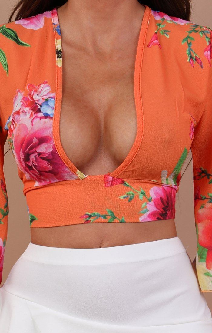 Orange Floral Plunge Crop Top - Cleo