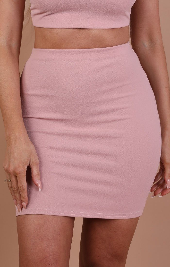 Dusky Pink Bodycon Mini High Waist Skirt - Mimi
