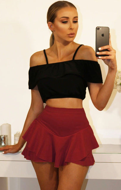 Wine Layered Frill Mini High Waist Skirt Shorts
