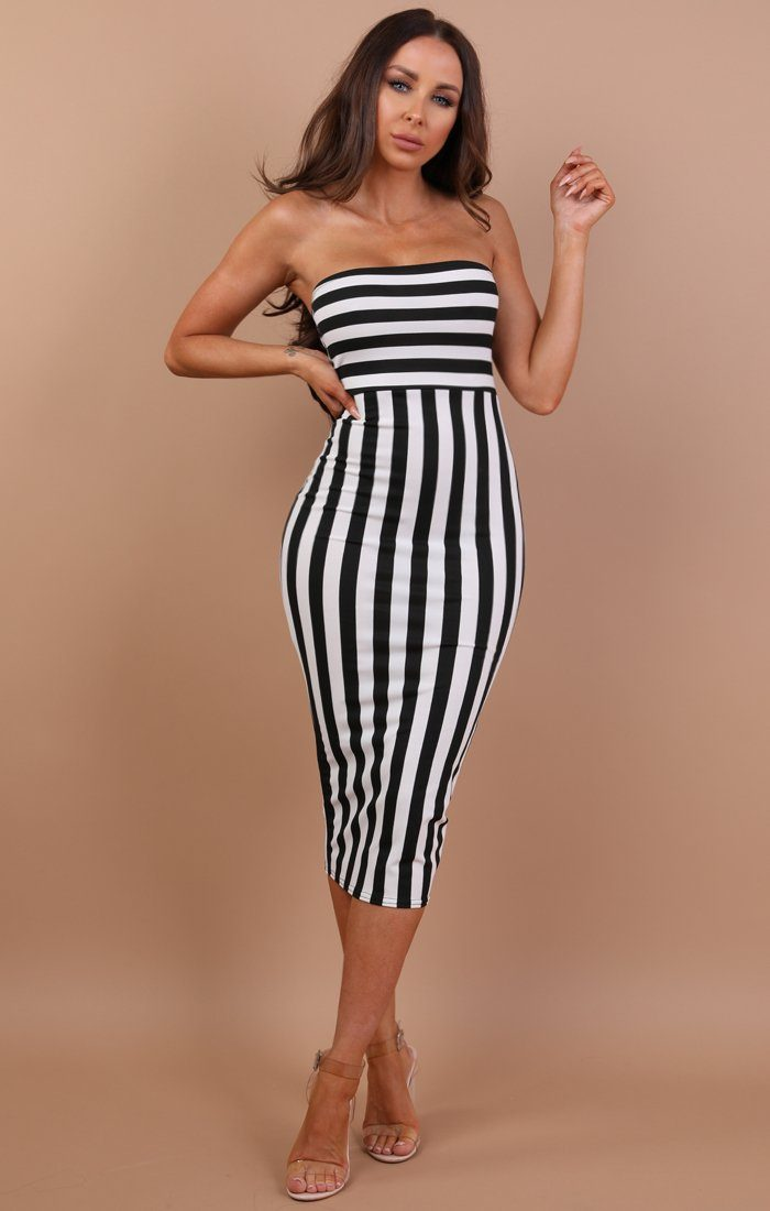 Black Stripe Bandeau Midi Dress - Fantasia