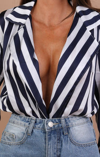Navy And White Stripe Plunge Collar Satin Bodysuit - Amie