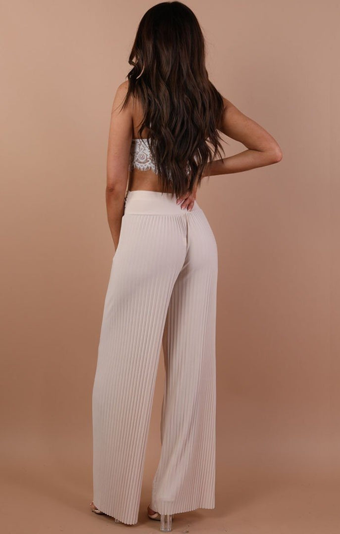 Stone Pleated Wide Leg Trousers - Lucille