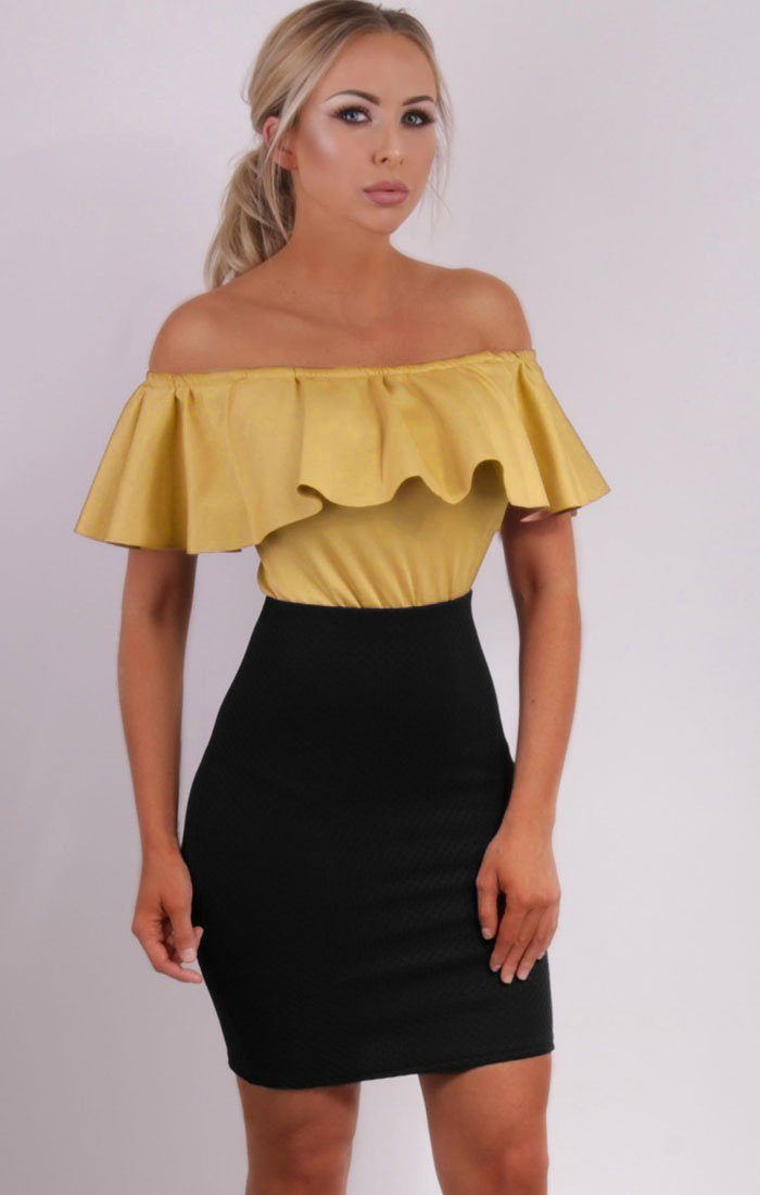 Black Premium Midi High Waist Skirt