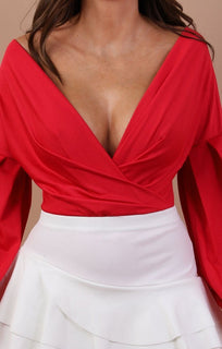 Red Plunge Wrap Bodysuit - Eliana