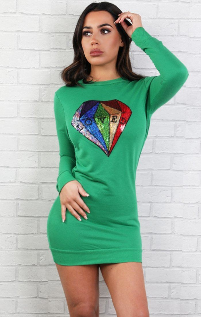 Green Sequin Diamond Jumper Dress - Jasmine
