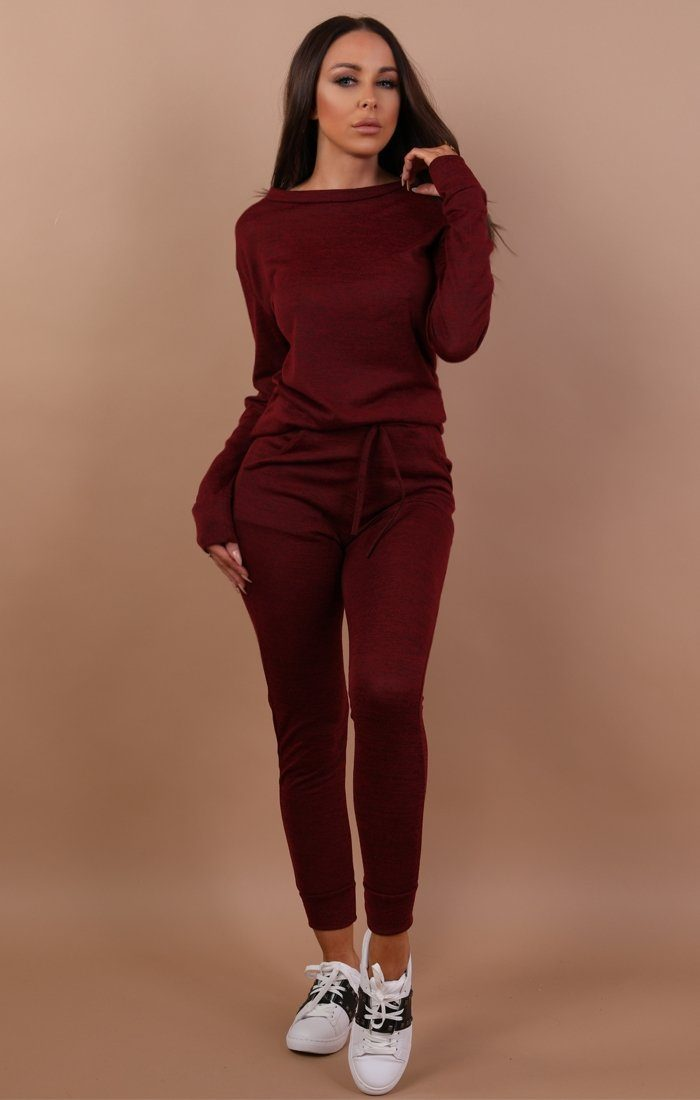 Wine Loungewear Tracksuit Set sets Femme Luxe S/M(8/10)