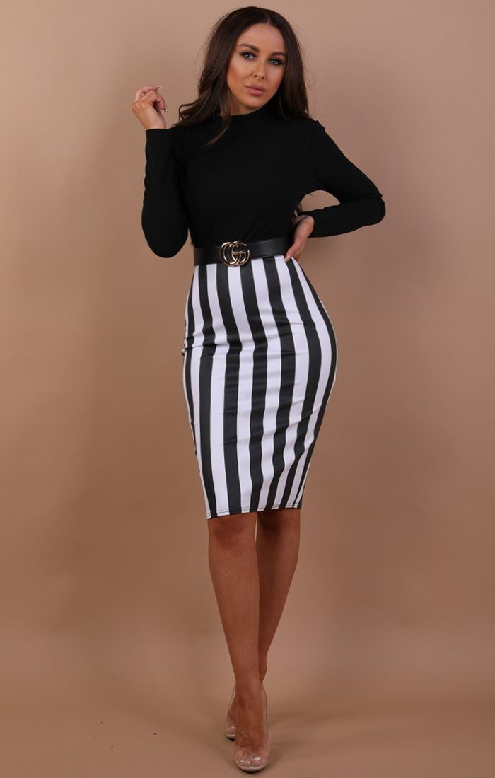 Black Striped High Waist Skirt Midi Dress - Lana