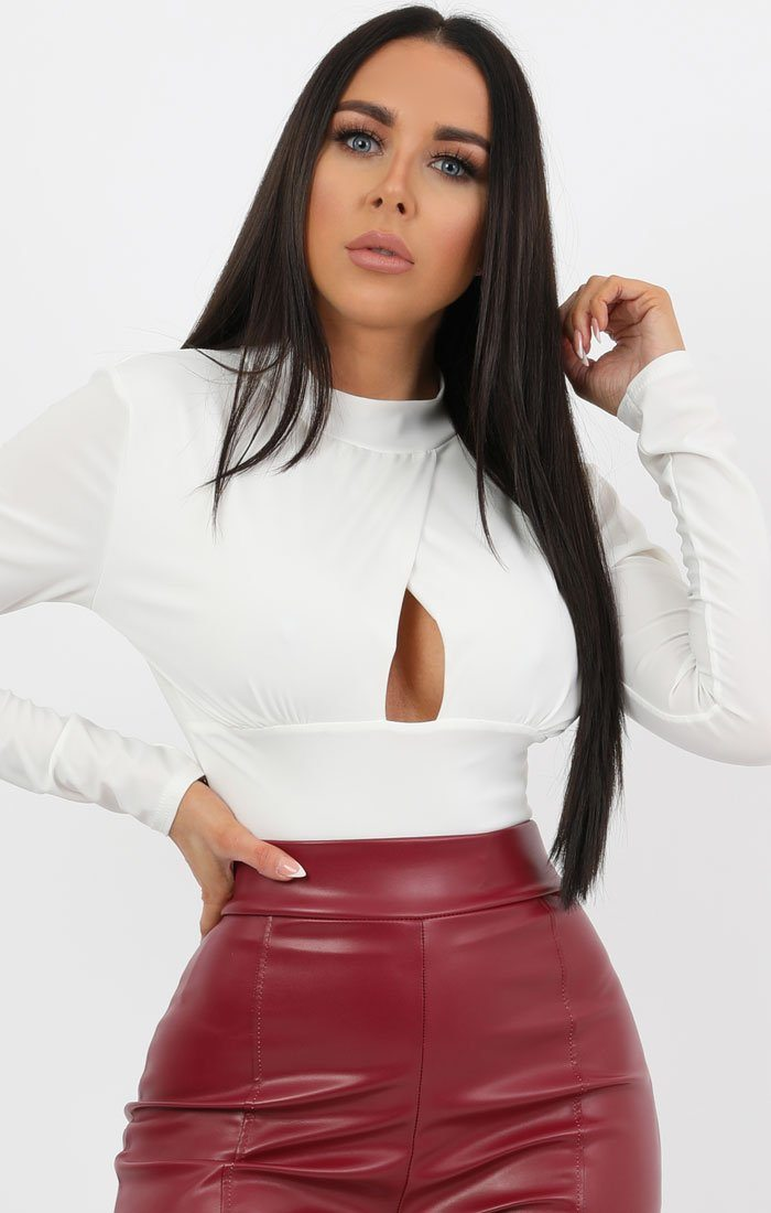 White Long Sleeve Cut Out Bodysuit - Kia