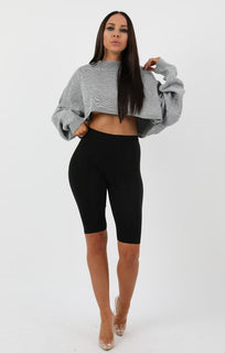 Grey Ribbed Knit Crop Jumper - Jaya