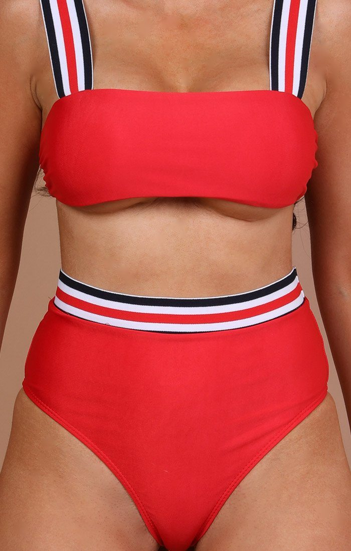 Red Stripe Detail Bikini Top -jackie
