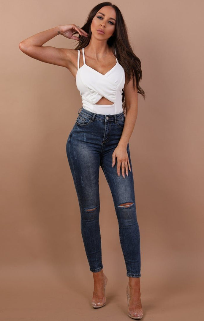 White Cut Out Cross Over Bodysuit - Haley