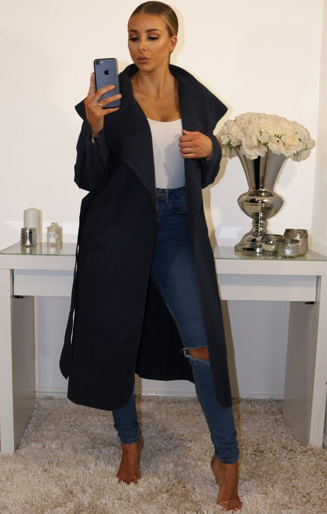 Navy Waterfall Duster Belted Long Coat