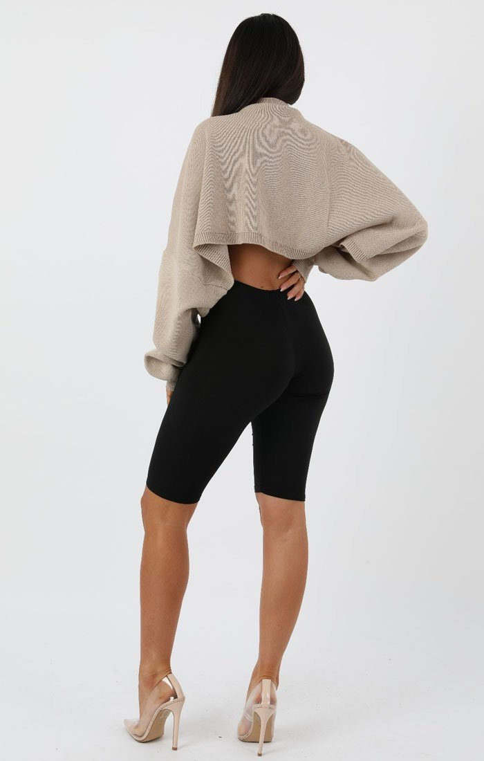 Camel Ribbed Knit Crop Jumper - Jaya