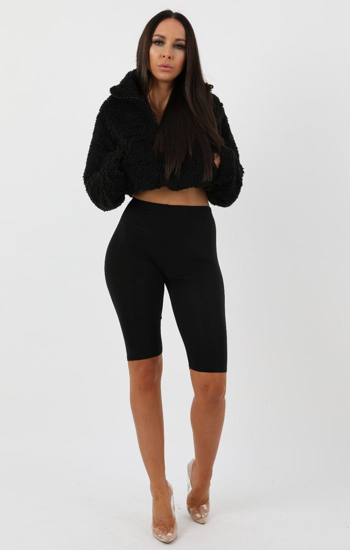Black Crop Teddy Zip Jumper - Jolie