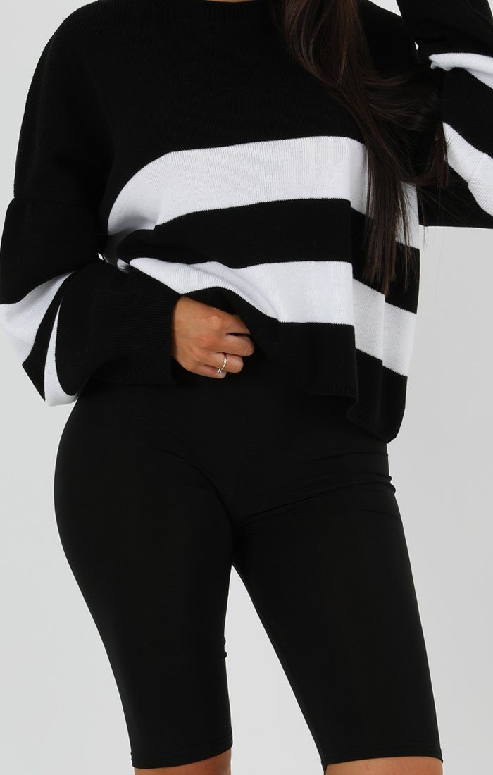 Black Stripe Oversized Crop Jumper - Faizi