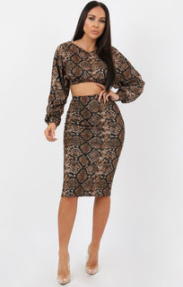 Animal Snake Print Crop Jumper Midi Skirt Loungewear Set - Ines
