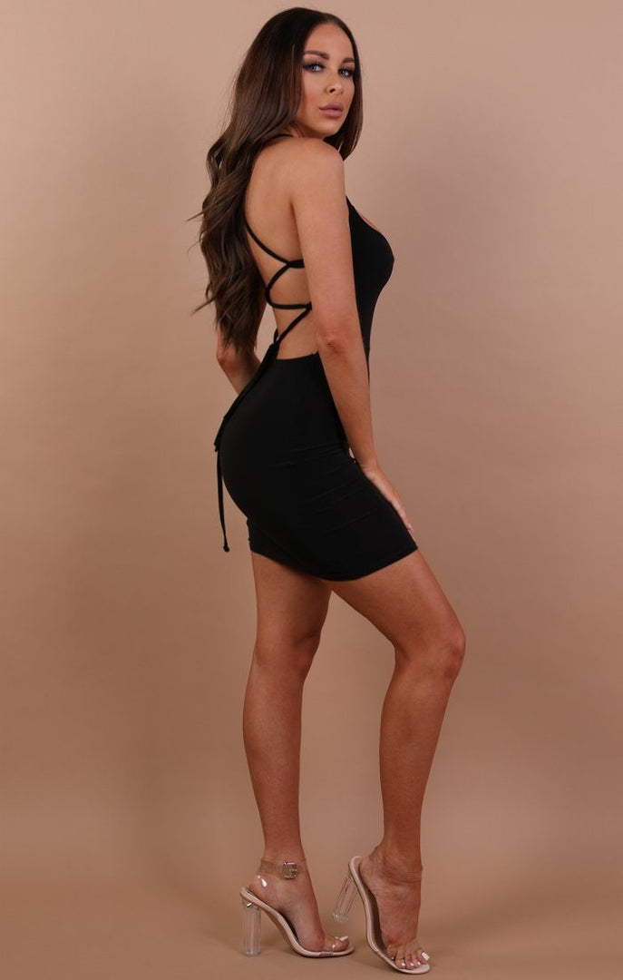 black-slinky-lace-up-bodycon-dress-Courtney