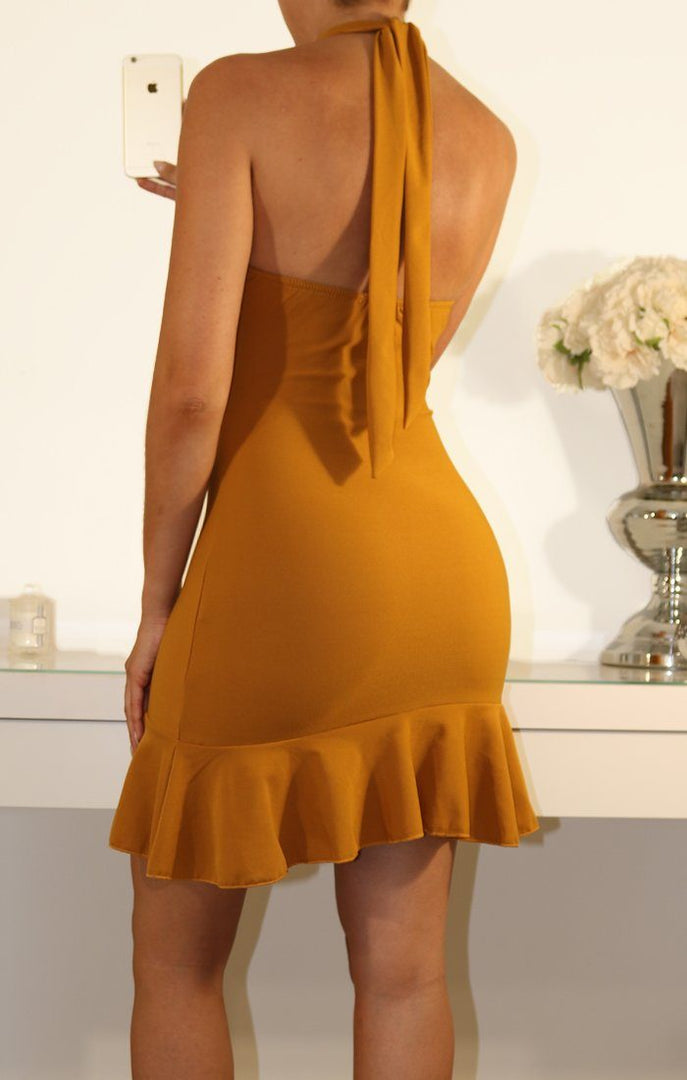 Mustard Halter Neck Frill Dress