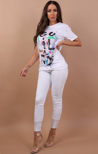 White Guilty Abstract Printed T-shirt - Becky