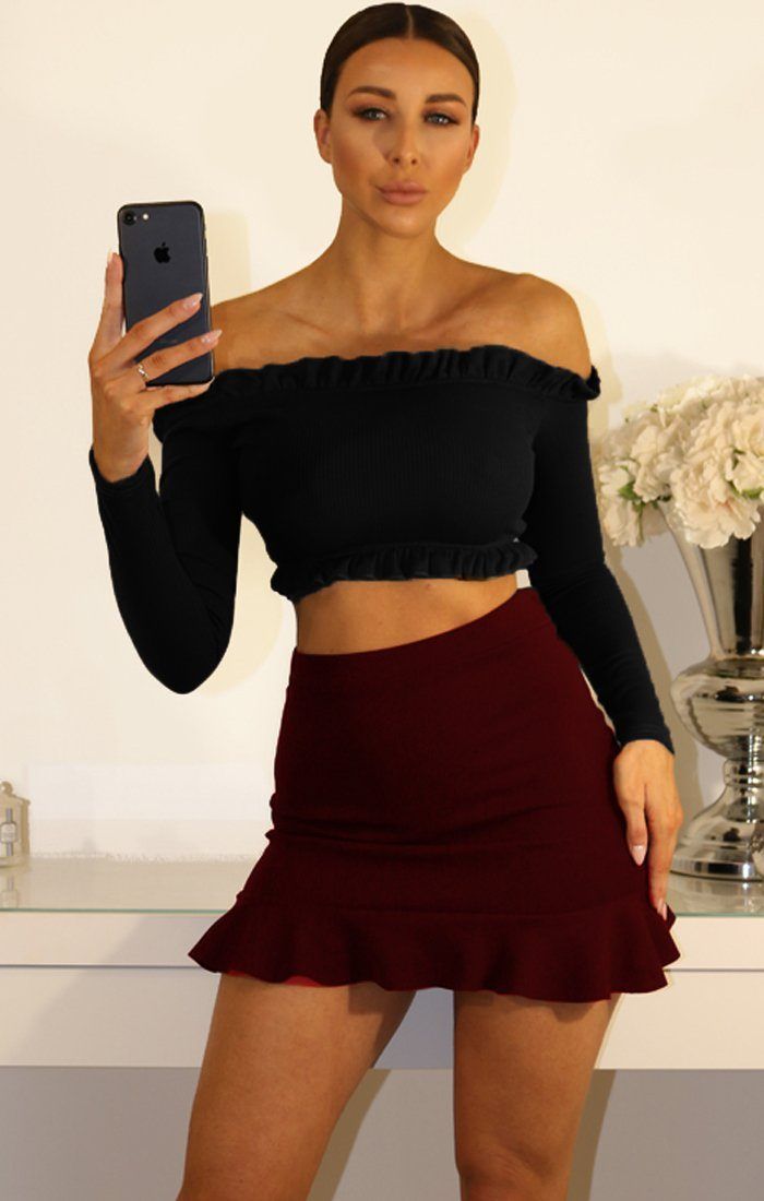 Black Ribbied Frill Detail Bardot Crop Top