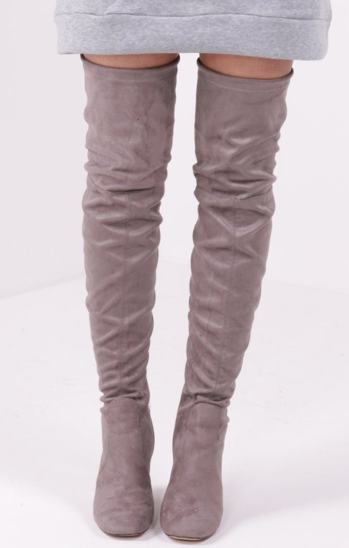 Grey Suede Over The Knee Boots