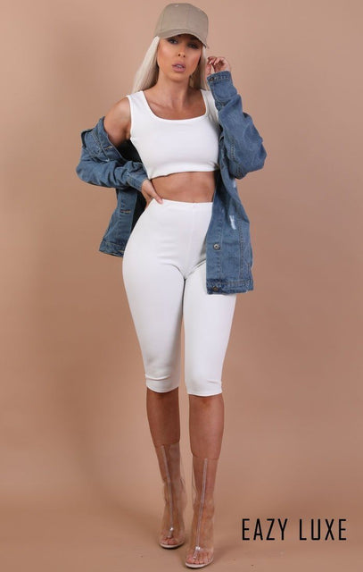 White Basic Crop Shorts – Rae