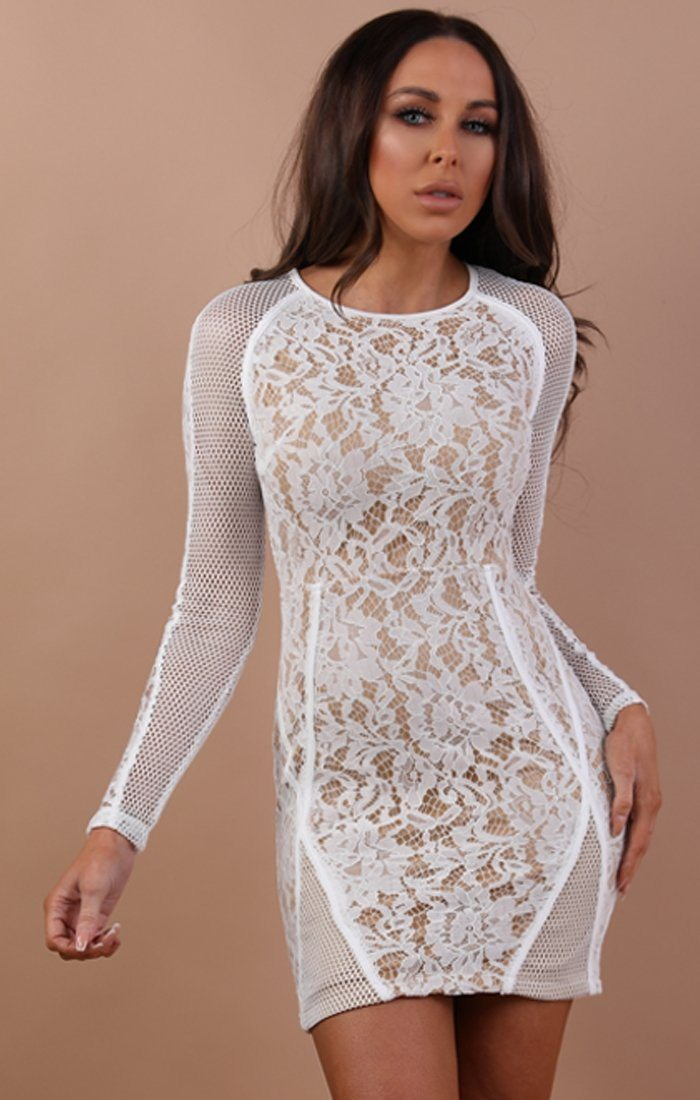White Mesh Lace Bodycon Dress – Annabelle