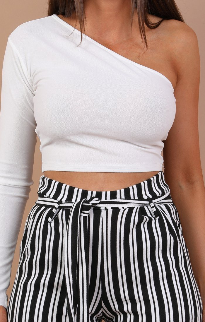 White One Shoulder Crop Top - Lola