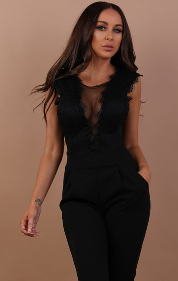 Black Open Lace Back Jumpsuit - Chloe