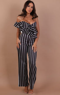Black-with-White-Stripe-One-Shoulder-Frill-Jumpsuit
