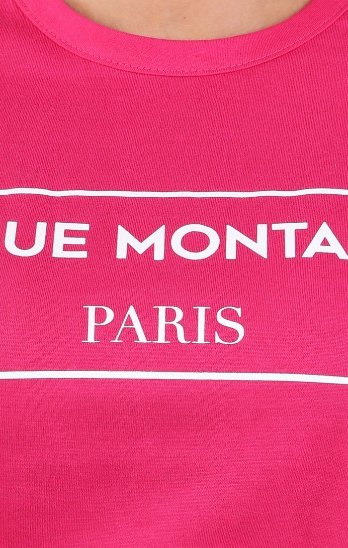 Pink Avenue Montaigne Slogan T-shirt