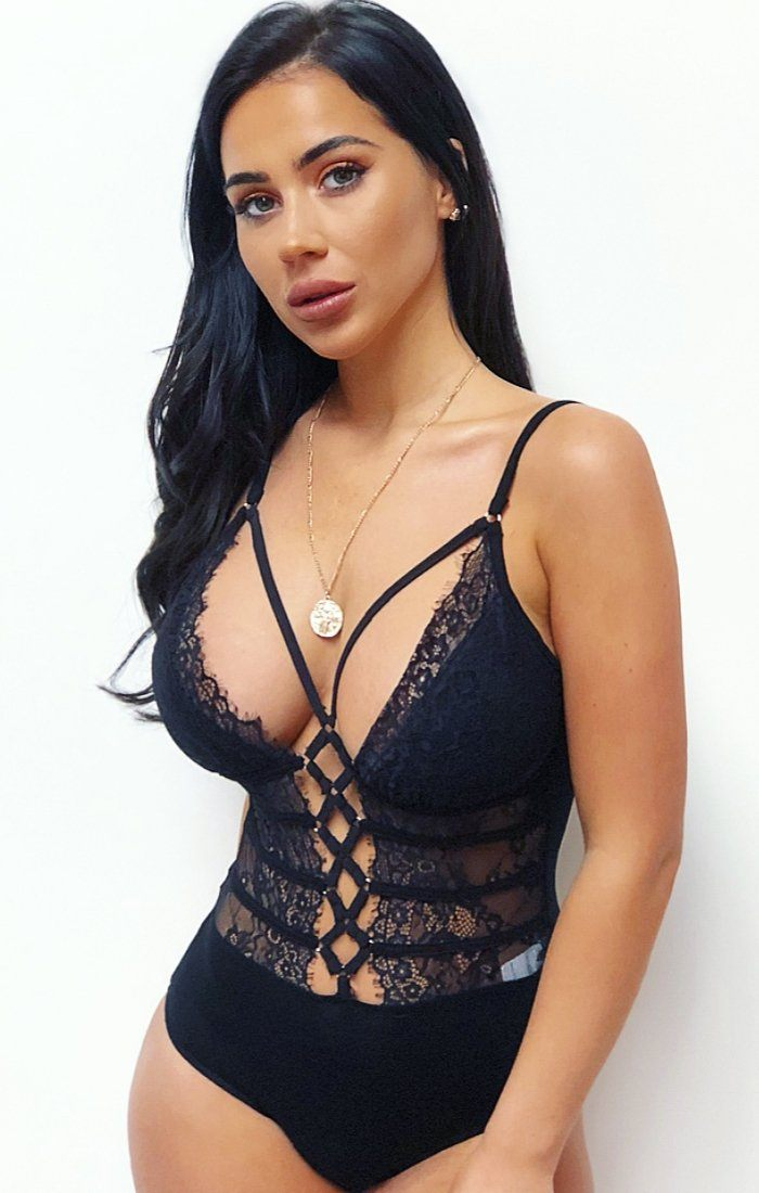 Black Lace-up Bodysuit - Courtney