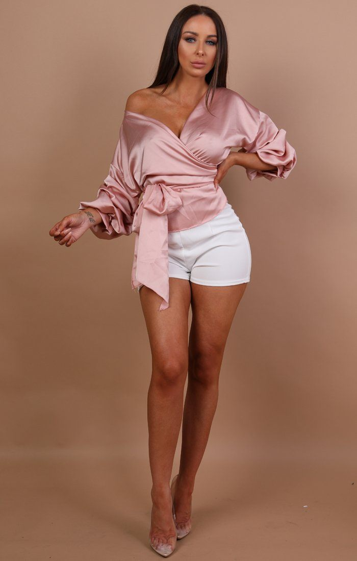 Pink-Satin-Ruched-Sleeves-Wrap-Top-Mia
