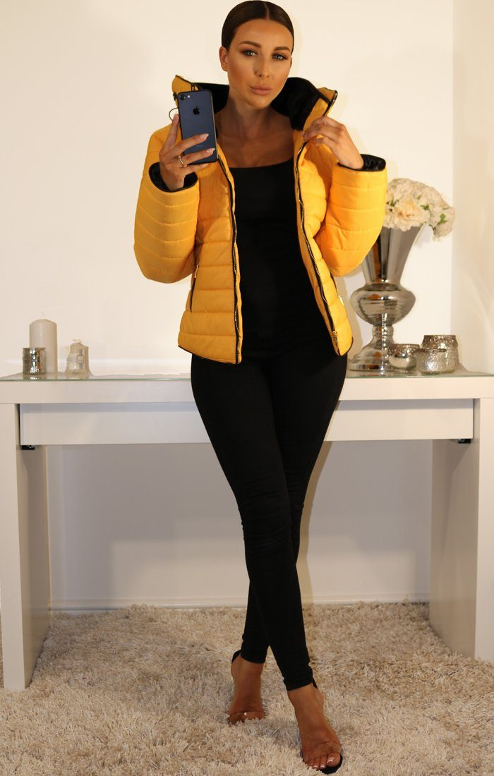 Mustard Padded Faux Fur Coat
