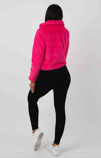 Hot Pink Faux Fur Crop Jacket - Sasha