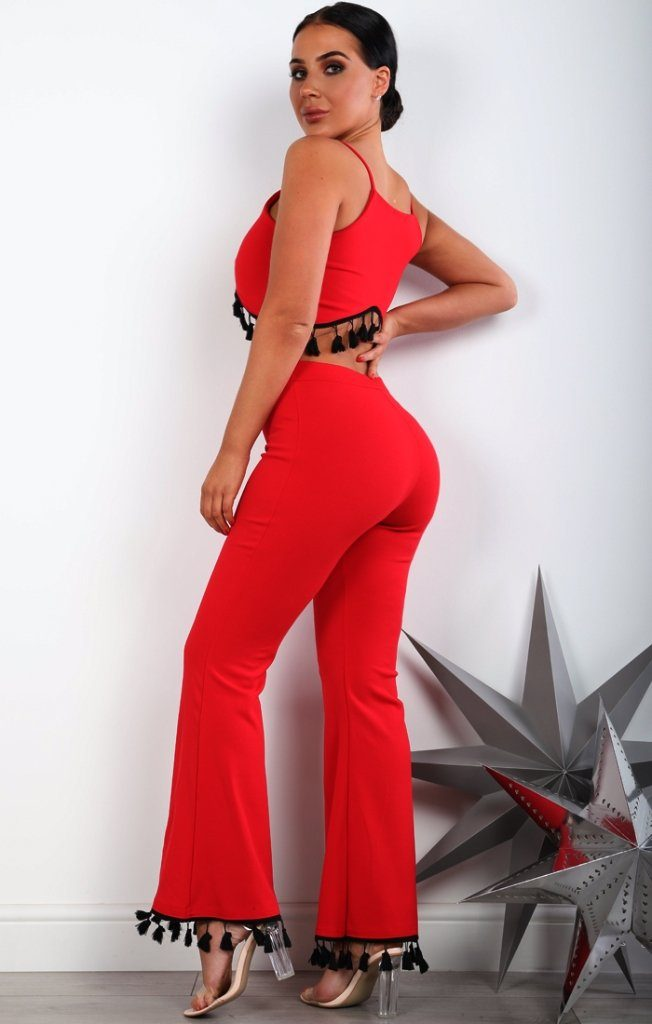 Red Tassel Detail Two Piece Co-ord Set
