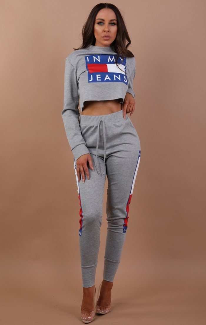 Grey Cropped In My Jeans Loungewear Set - Daria