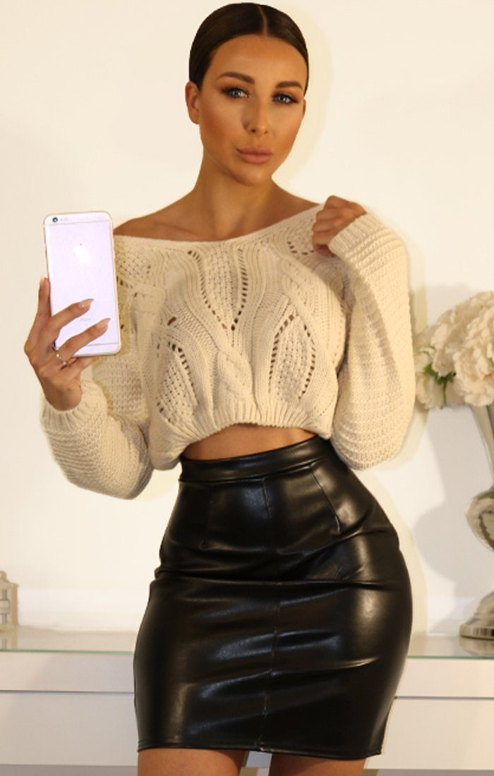 Off White Lace Up Cable Knit Crop Jumper