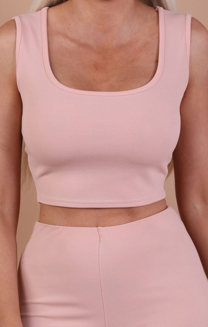 Nude Thick Strap Basic Crop Top - Tammy