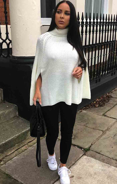 Cream High Neck Bat Wing Knit Jumper - Gemma