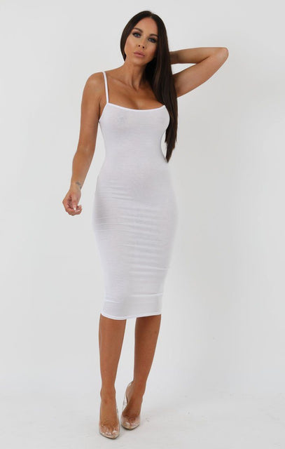 White Strappy Bodycon Midi Dress - Poppy