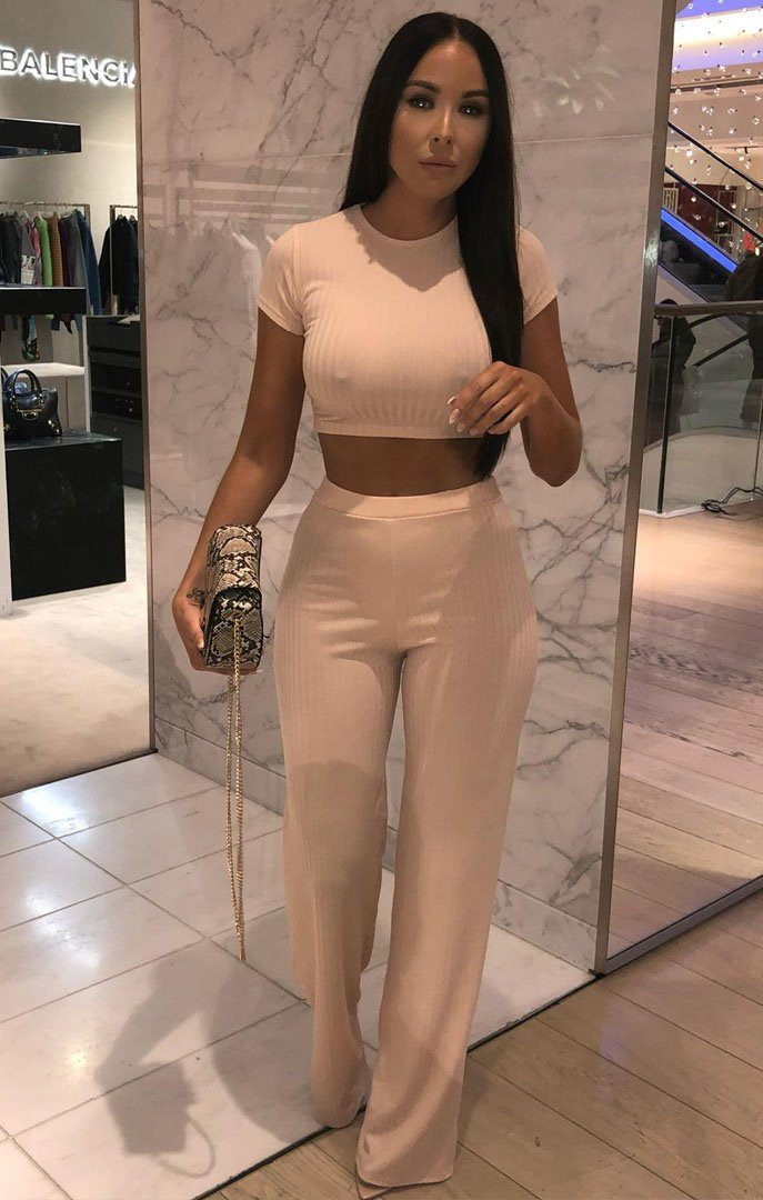 Nude Crop Ribbed Two Piece Co-ord Set - Suzi