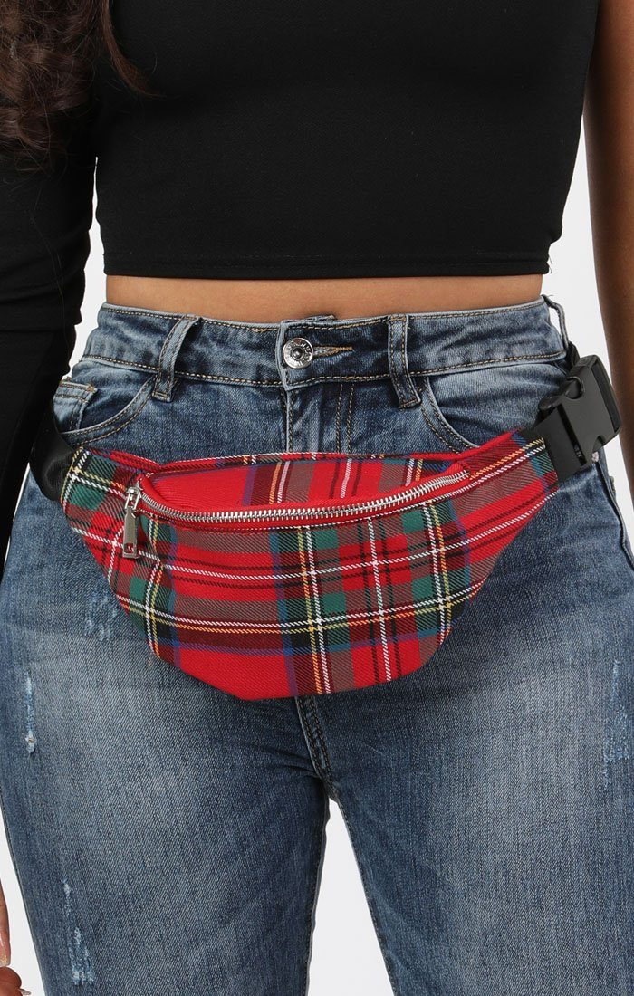 Red Tartan Belt Bag - Tina