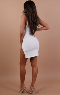 Cream V Bar Bodycon Mini Dress – Aspen