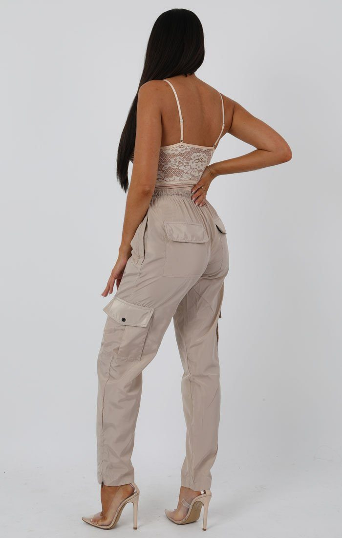Stone Shell Pocket Cargo Trousers - Christina