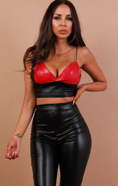 Red Contrast Faux Leather Crop Top - Cassandra