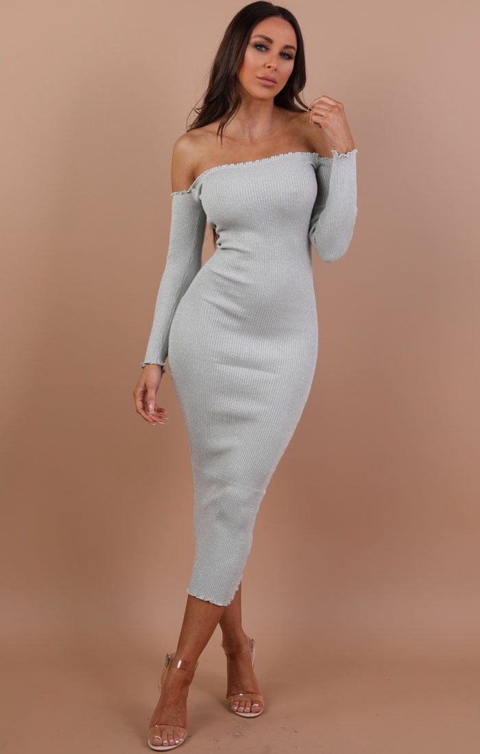 Silver Bardot Ribbed Maxi Dress With Ruffle Detail - Ellen